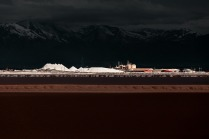 5 story high piles of salt at the Morton salt evaporation ponds