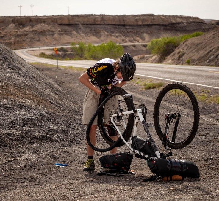 Bikepacking flat tire